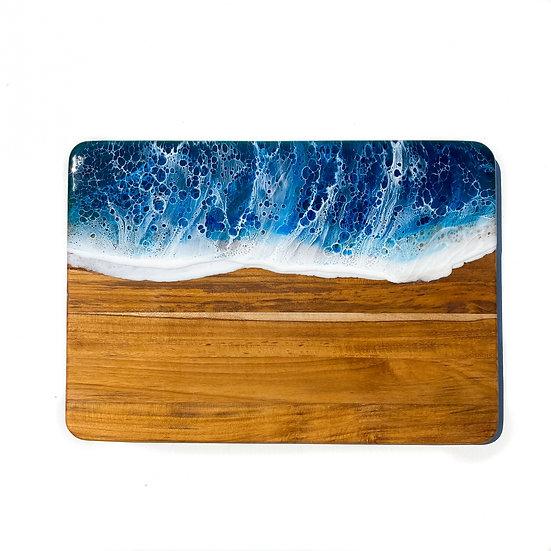Blue Ocean Board on Teak Wood