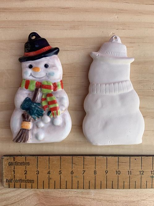 Snowman with broom hanger