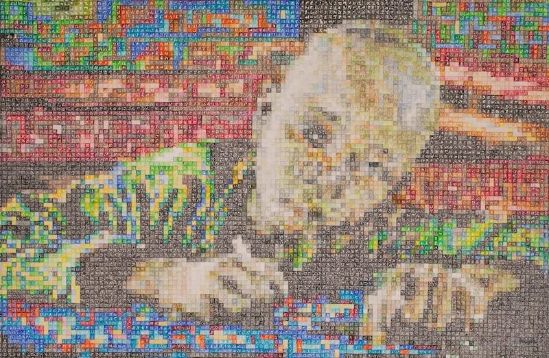 La peinture Education a été réalisé par Alioune Diagne, une figure de l'Art contemporain africain