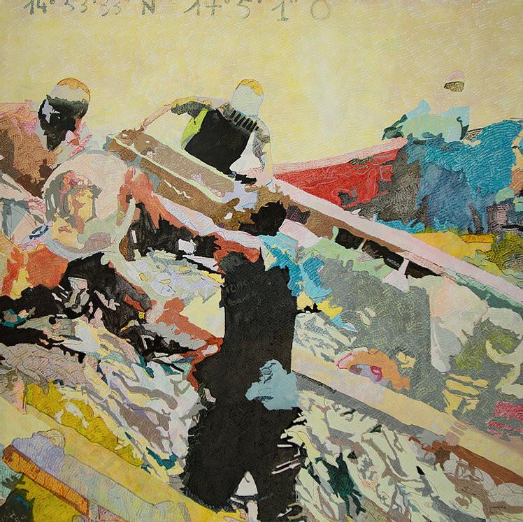 Manel Ndoye, une figure de l'art contemporain africain, a réalisé la peinture Bien-être de la vie sociale