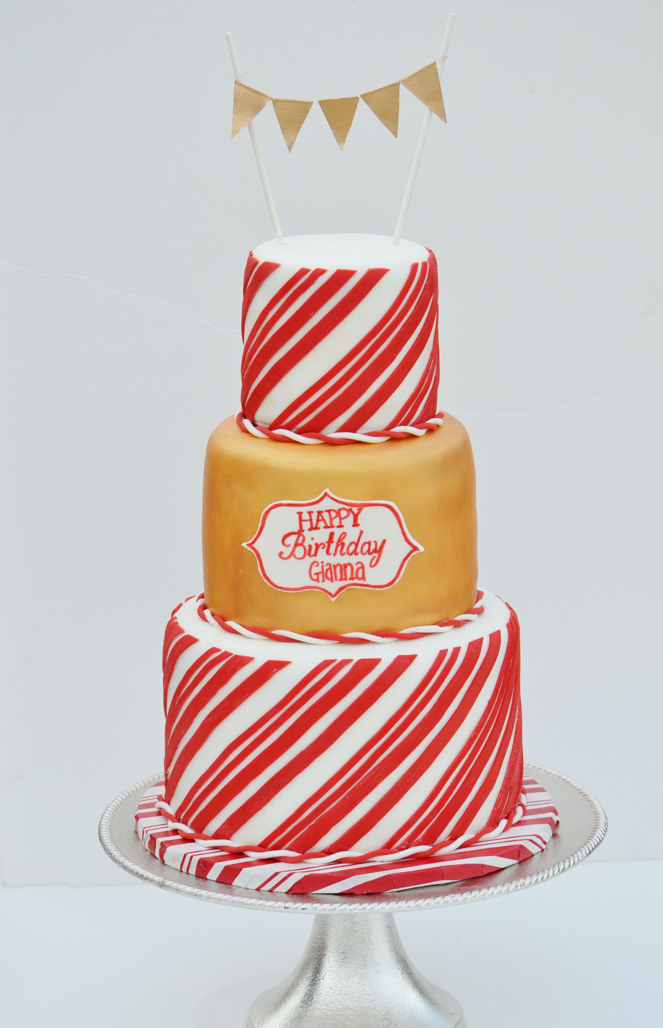 Gold and Candy Cane Themed Cake