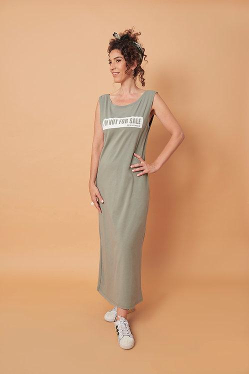 שמלת מקסי ללא שרוולים בצבע ירוק