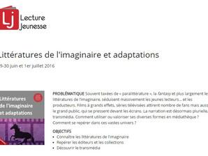 """Présentation """"les littératures de l'imaginaire pour ados"""" pour Lecture Jeunesse"""
