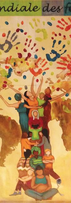 Oeuvre collectivepour le Réseau des femmes des Laurentides (RFL) dans le cadre de la Marche mondiale des femmes 2015.
