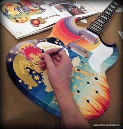 Painted guitar by Beth Brown