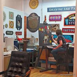 Beth Brown at work in her art studio