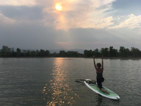 sunset yoga on the lake