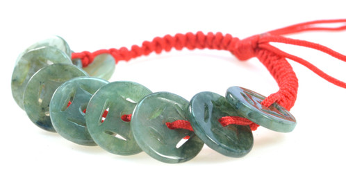 Beautiful Feng Shui Simulated Jade Coin Bracelet Brings Good Luck And Prosperity Each Stone Is Made To Imitate Coins 9mm Promotes