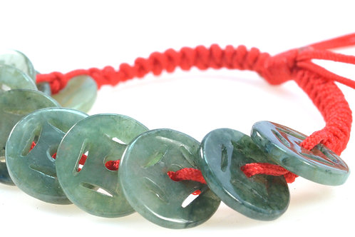 Feng Shui Jade Stone Coin Bracelet