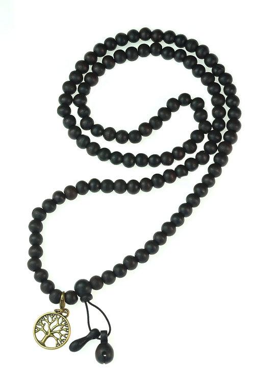 8mm LUOS 108 Black Wood Beads Tibet Buddhist Prayer Mala Necklace - 230A