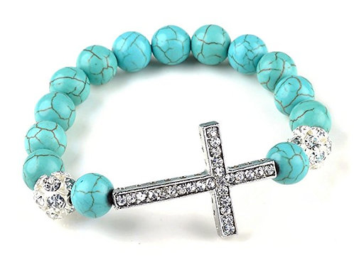 Fashion Jewelry Turquoise Beads sideway cross rhinestones bracelet - fas
