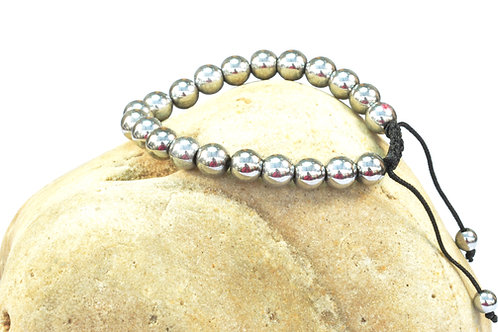 Magnetic Round Silver Color Hematite Bracelet