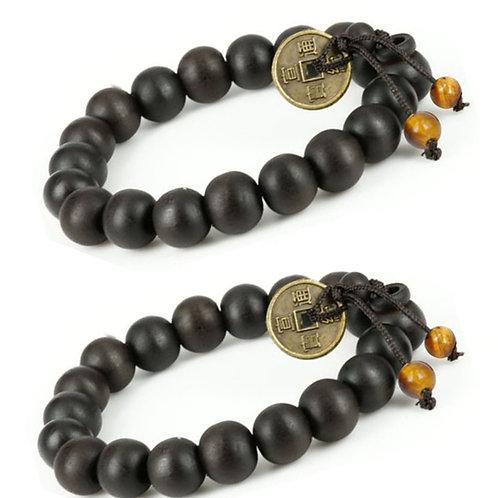 Feng Shui Coin with Tibetan Buddha Prayer Mala Black Wood Bracelet - W026
