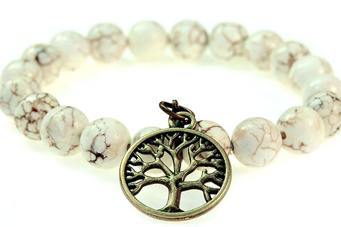 9mm White Turquoise Stretch Bracelet with Tree of Life Charm