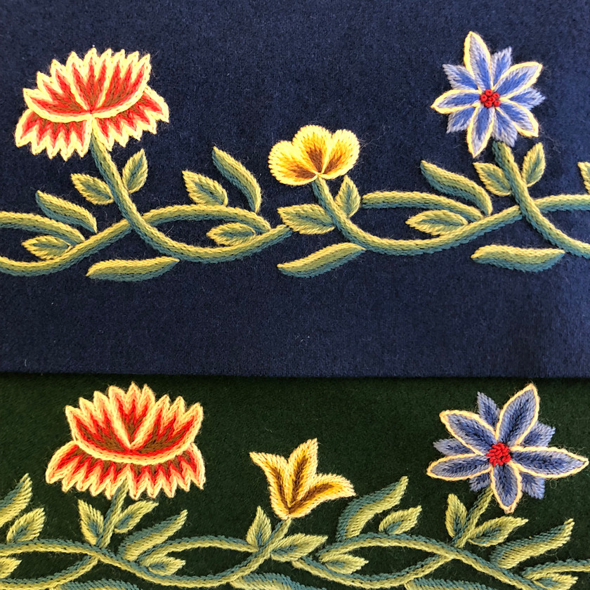 Øverst er original og nederst er produsert i Thailand. Hele broderimønsteret er blitt speilvendt i utenlandsproduksjonen.