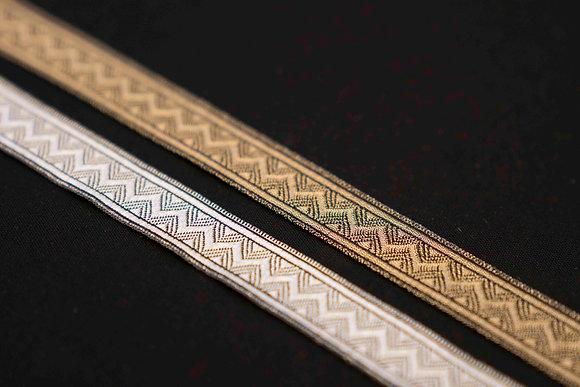Metallic bånd med sikksakk 20mm