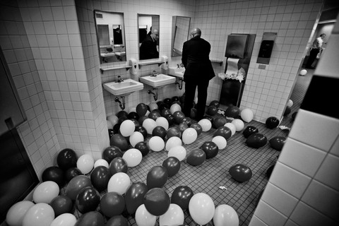 The Republican Convention at the Quicken Loans Arena was over and after the usual balloon drop, the balloons found their way to one of the arena's toilets.