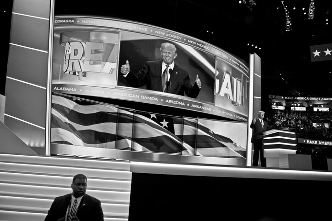 "At the convention in Cleveland, Donald Trump began by thanking in a humble manor for the nomination as the Republican presidential candidate. Before he could continue with his speech his supporters could be heard chanting ""Build the wall"" from across the hall. A reference to the wall Trump has said will be built on the international border with Mexico to stop illegal immigrants."