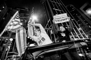 "It's just after 4 in the morning election night. Donald Trump will become America's new President. Vinnie and Antonio Latona celebrated by driving around in a car with flags, shouting: ""USA, USA, USA"