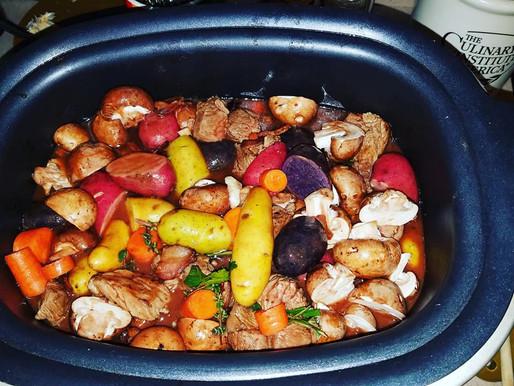OCTongue HOMEMADE:  Beef borguignon and scallops in garlic butter