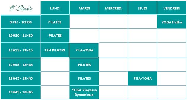 2021 juin Planning O'studio Yoga Pilates