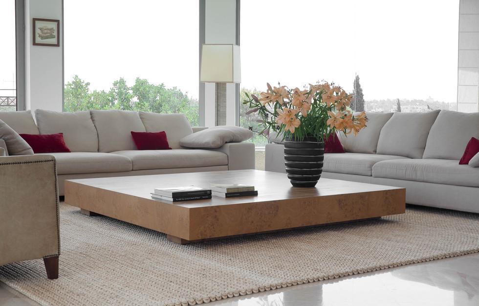 שולחן קפה ענק מפורניר עץ שורש טבעי במידות 2.40 על 2.40