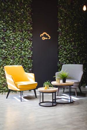 פינת ישיבה על רקע קיר צמחייה