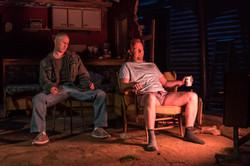 l-r Adam Gillen (Chris Smith), Steffan Rhodri (Ansel Smith) - Killer Joe at Trafalgar Studios - Phot