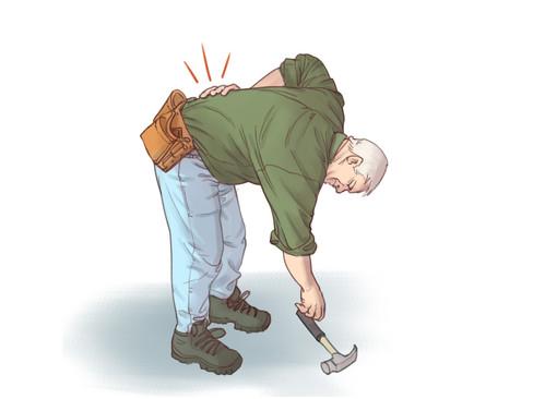 Illustration af mand med rygsmerter