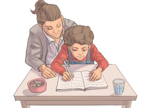 Pige der laver lektier med sin mor.
