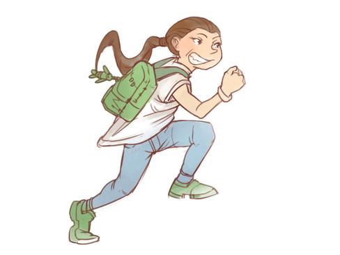 Illustration af pige i bevægelse