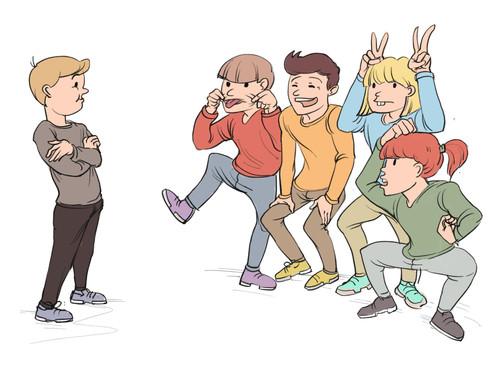 Illustration af en leg, hvor børnene deles op og forsøger at få hindanden til at grine