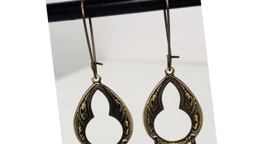 Distressed brass hippie earrings