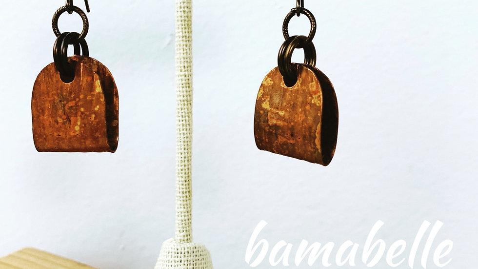 Copper & brass dangle earrings