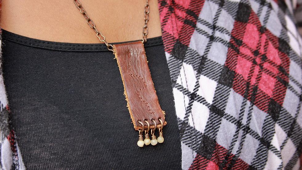 Vintage Leather Statement Necklace