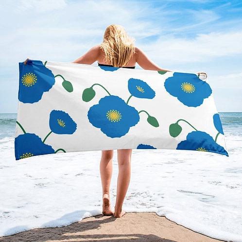 Blue Poppy Flower Pattern Towel