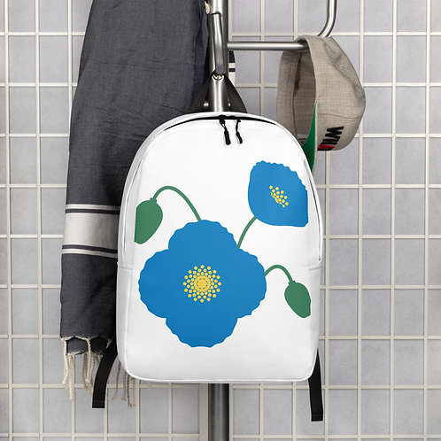 Blue Poppy Flower Minimalist Backpack