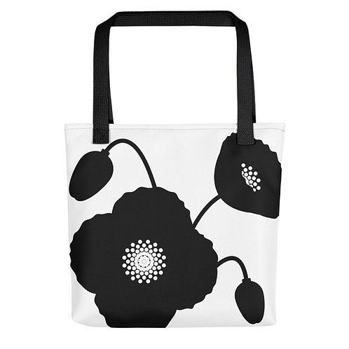 Black & White Poppy Flower Tote Bag 2