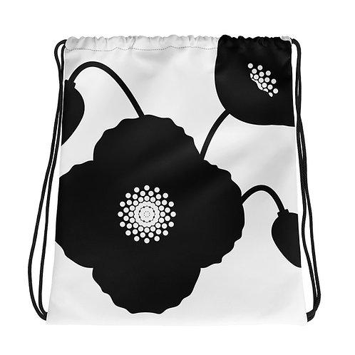 Black & White Poppy Flower Drawstring Bag