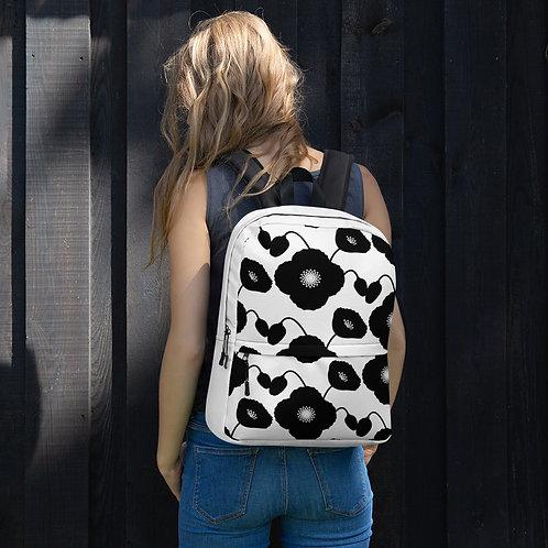 Black & White Poppy Flower Pattern Backpack