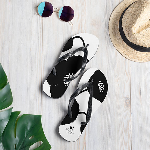 Black & White Poppy Flip-Flops