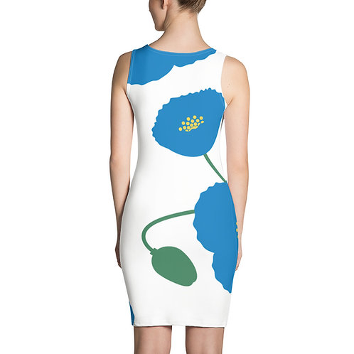 Blue Poppy Shifted Pattern 3 Sublimation Cut & Sew Dress