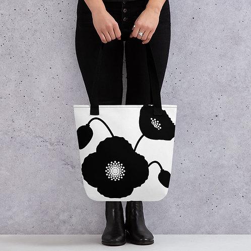 Black & White Poppy Flower Tote Bag