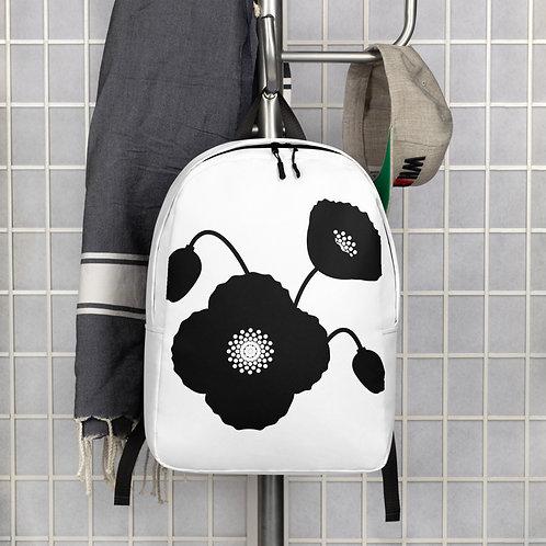 Black & White Poppy Flower Minimalist Backpack
