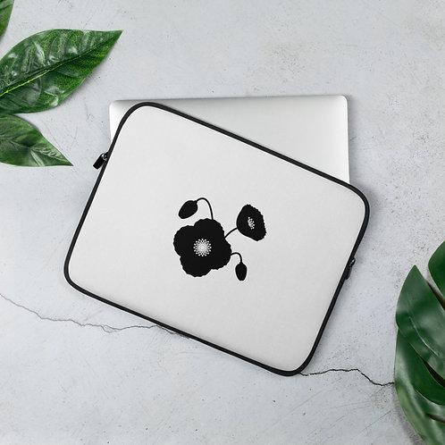 Black & White Poppy Flower Laptop Sleeve