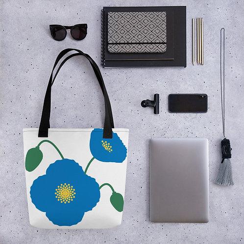Blue Poppy Flower Tote Bag
