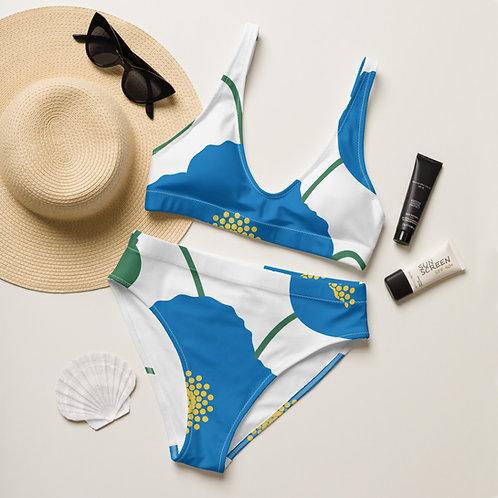 Blue Poppy Recycled High-Waisted Bikini