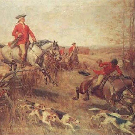 Painting of George Washington on a horse with his dogs running in front of him in a battle.