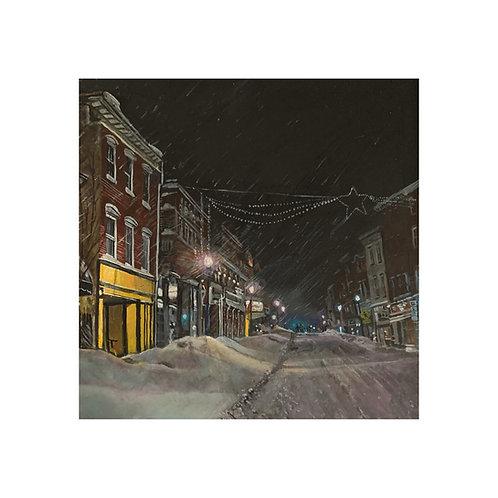 Snowy Evening on Bridge Street Print
