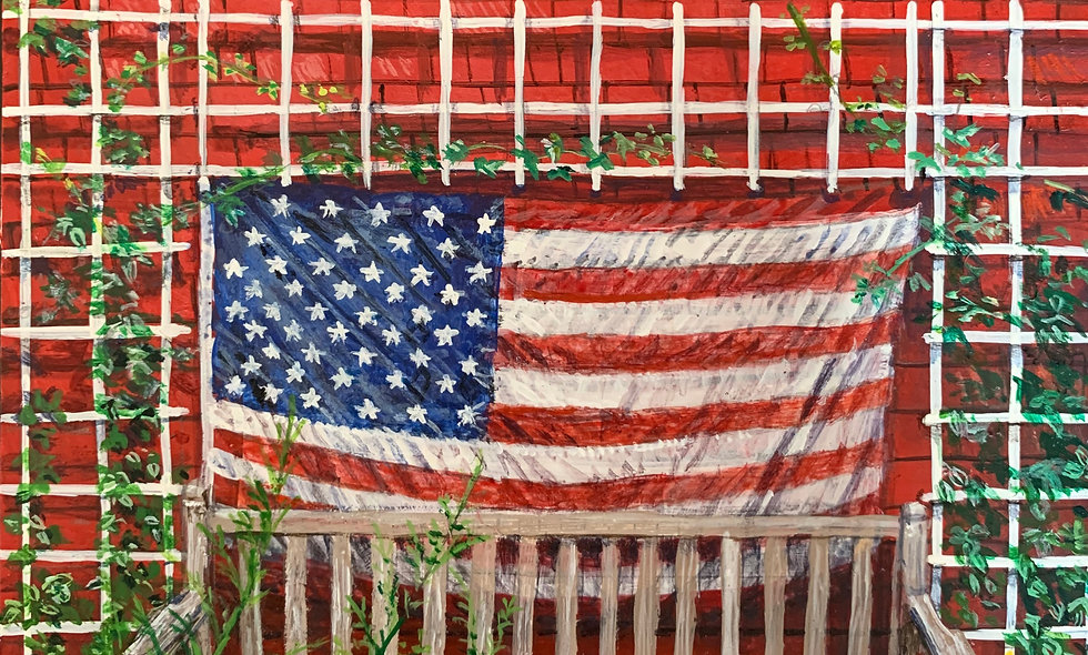 Bench and Patriotic American Flag at the Red Inn
